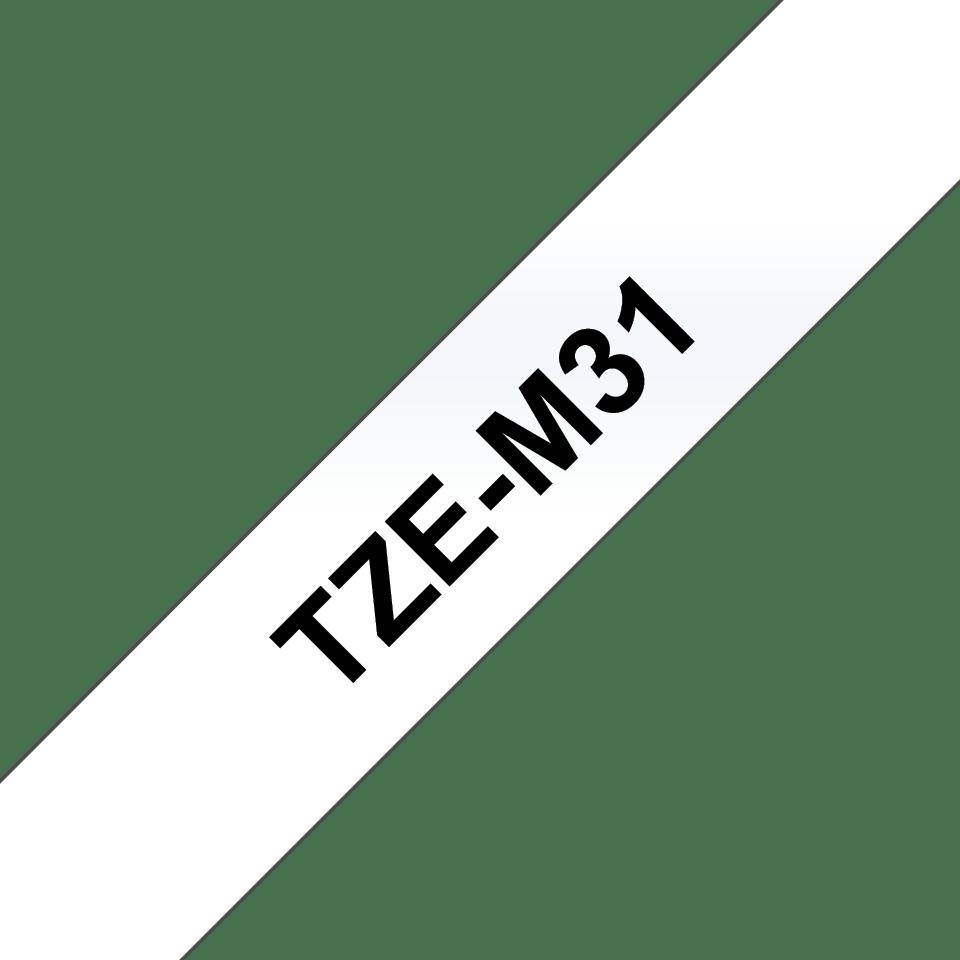 Genuine Brother TZe-M31 Labelling Tape Cassette – Black on Clear Matt Tape, 12mm wide 3