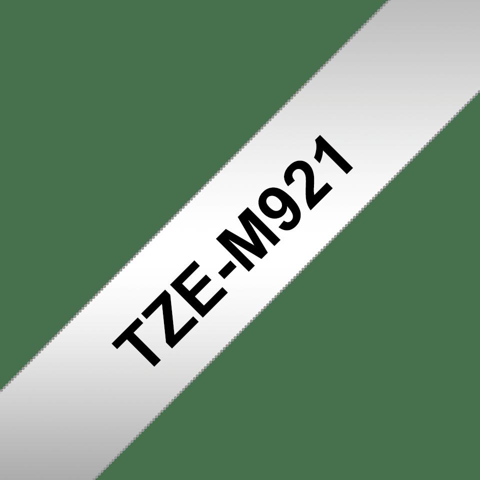 Genuine Brother TZe-M921 Labelling Tape Cassette – Black on Matt Silver, 9mm wide 3