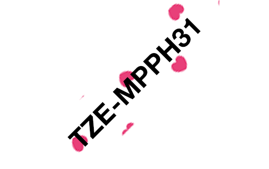Oriģināla Brother TZe-MPPH31 uzlīmju lentas kasete – melnas drukas ar sarkanām sirsniņām, 12mm plata  3