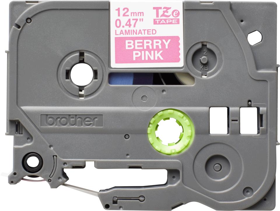 Oriģinālā Brother TZe-MQP35 uzlīmju lentas kasete – baltas drukas, rozā - 12mm plata