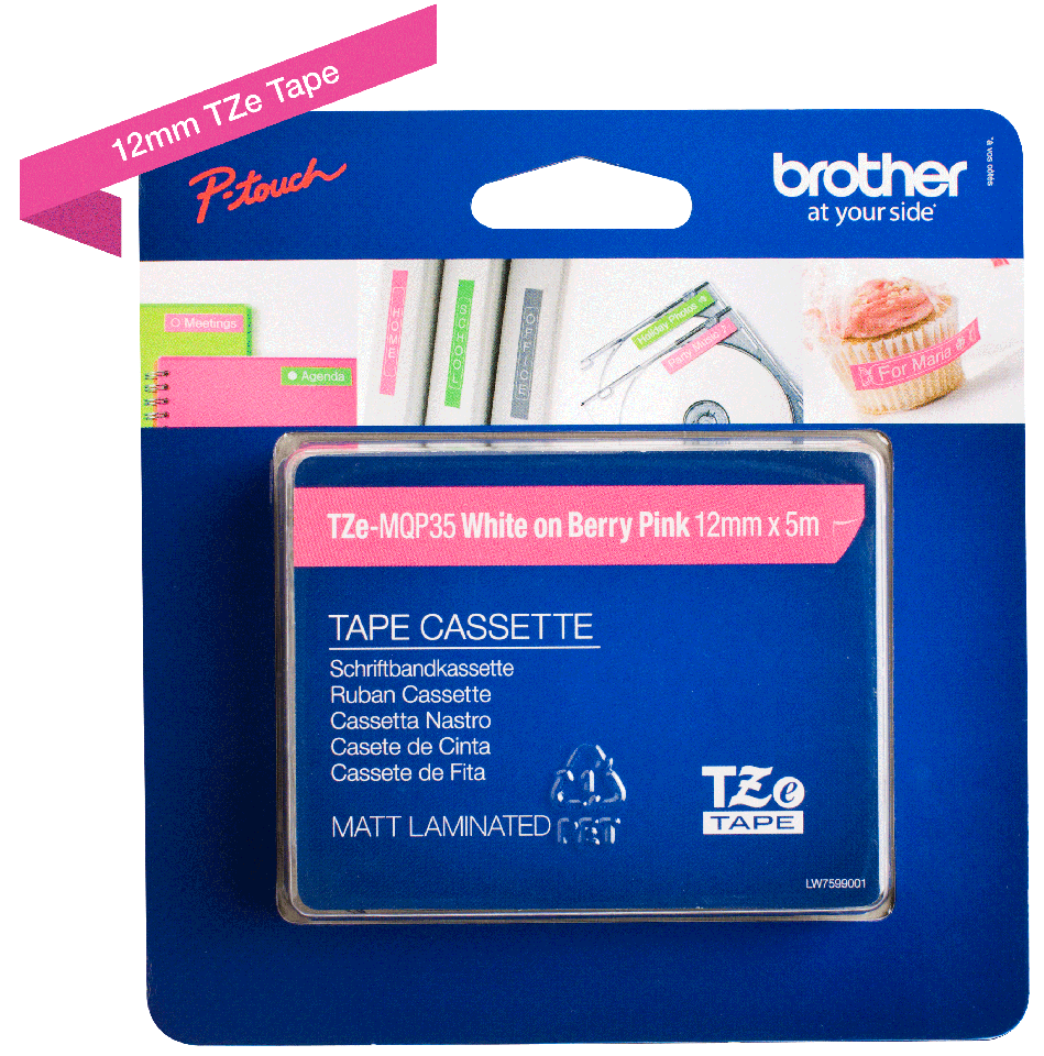 Oriģinālā Brother TZe-MQP35 uzlīmju lentas kasete – baltas drukas, rozā - 12mm plata 2