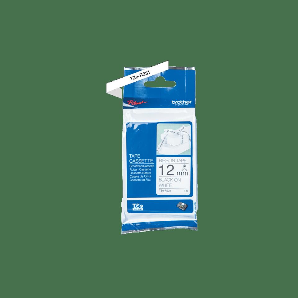 Oriģināla Brother TZe-R231 lentas kasete – melnas drukas, balta, 12mm plata 2