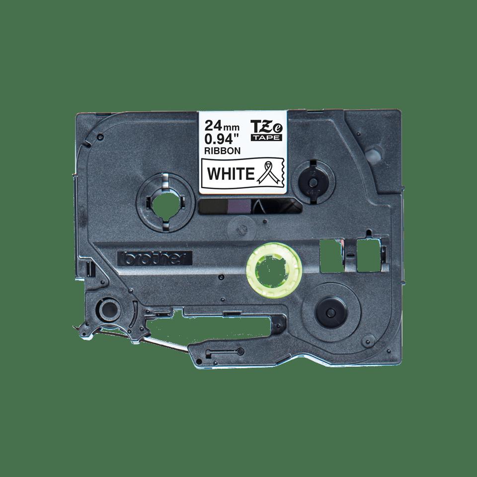 Oriģināla Brother TZe-R251 auduma lentes kasete – melnas drukas balta, 24mm plata