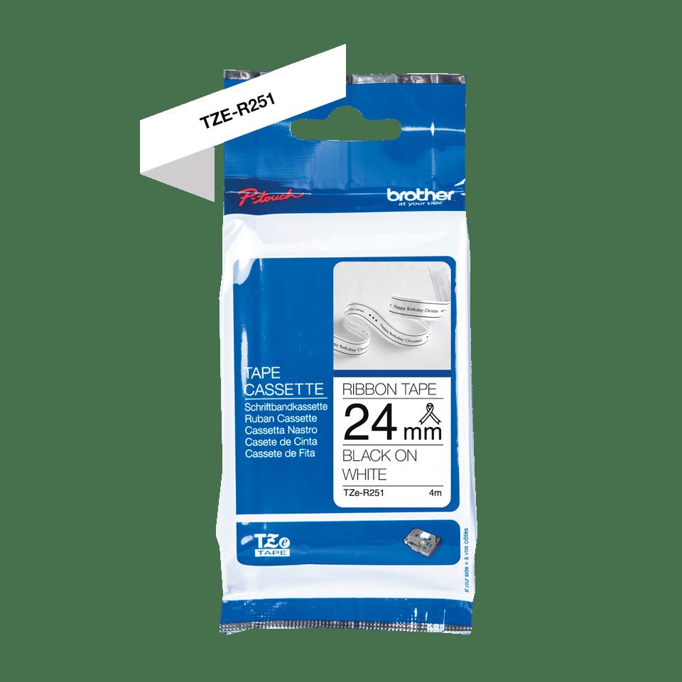 Oriģināla Brother TZe-R251 auduma lentes kasete – melnas drukas balta, 24mm plata 2