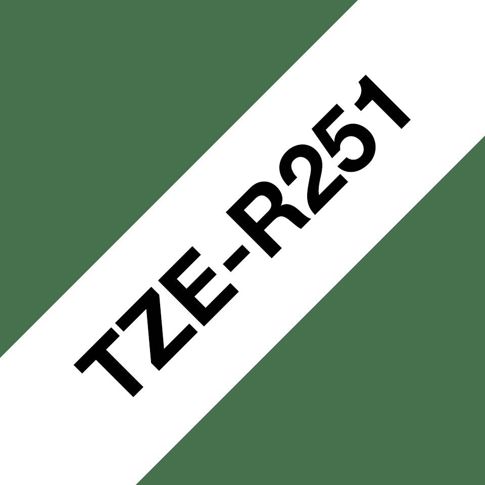 Oriģināla Brother TZe-R251 auduma lentes kasete – melnas drukas balta, 24mm plata 3