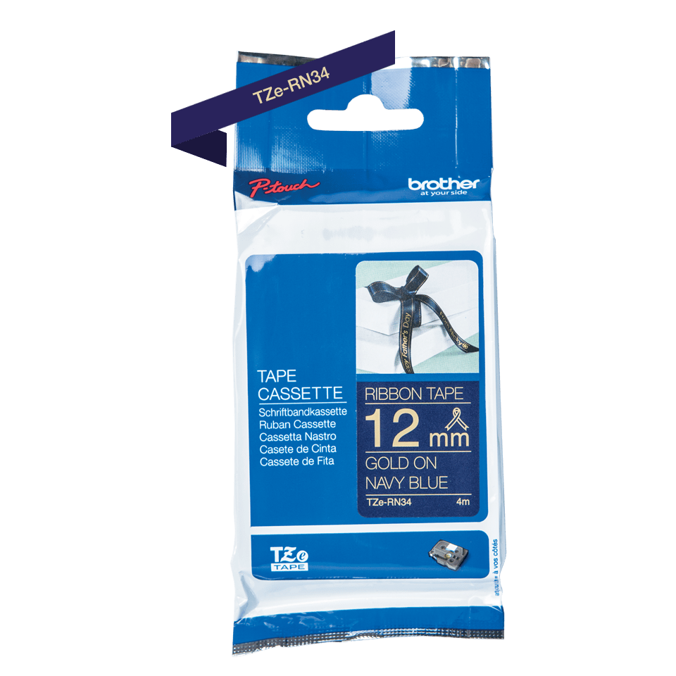 Oriģināla Brother TZe-RN34 auduma lente – zelta drukas, tumši zila, 12mm plata
