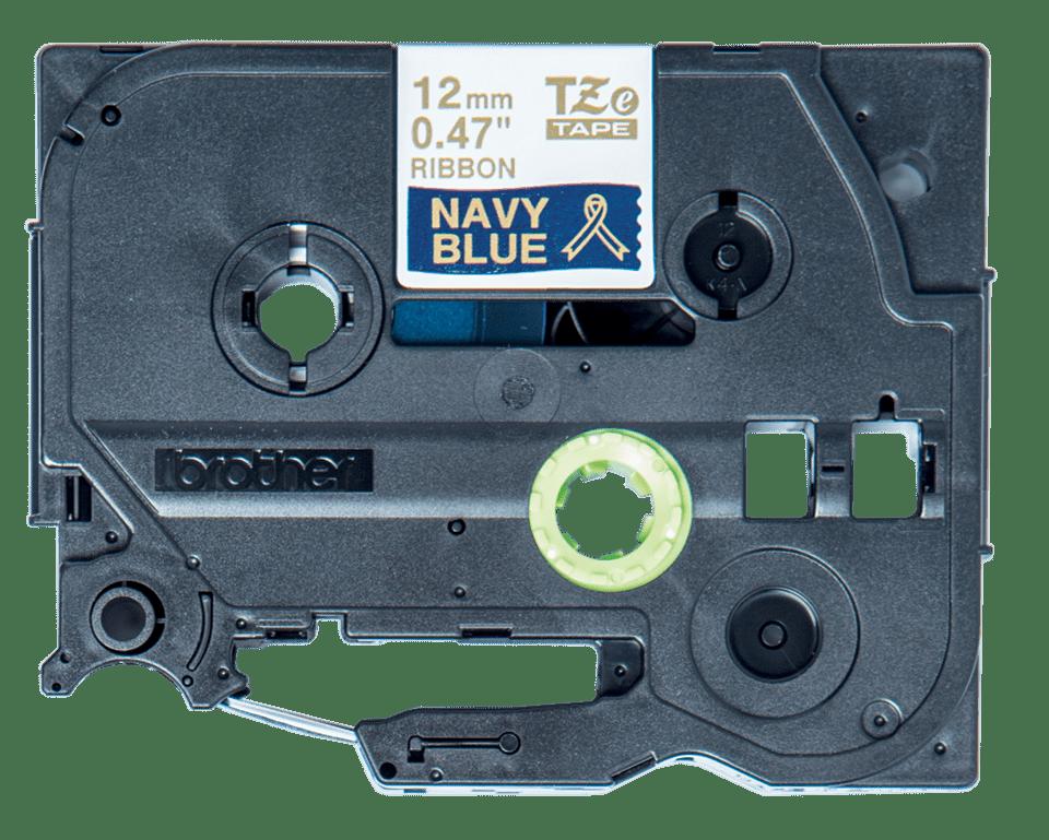 Oriģināla Brother TZe-RN34 auduma lente – zelta drukas, tumši zila, 12mm plata 2