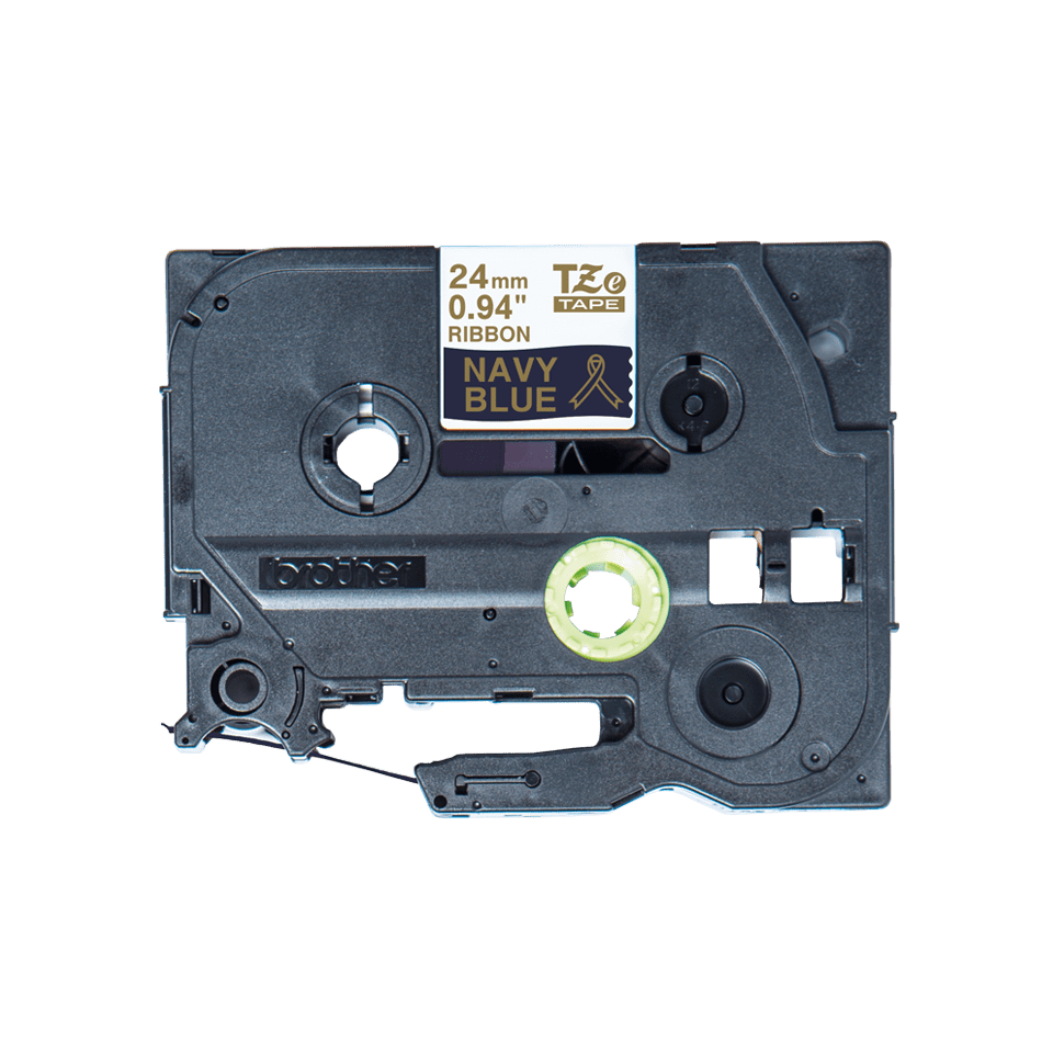 Oriģināla Brother TZe-RN54 auduma lentes kasete – zelta drukas tumši zila, 24mm plata