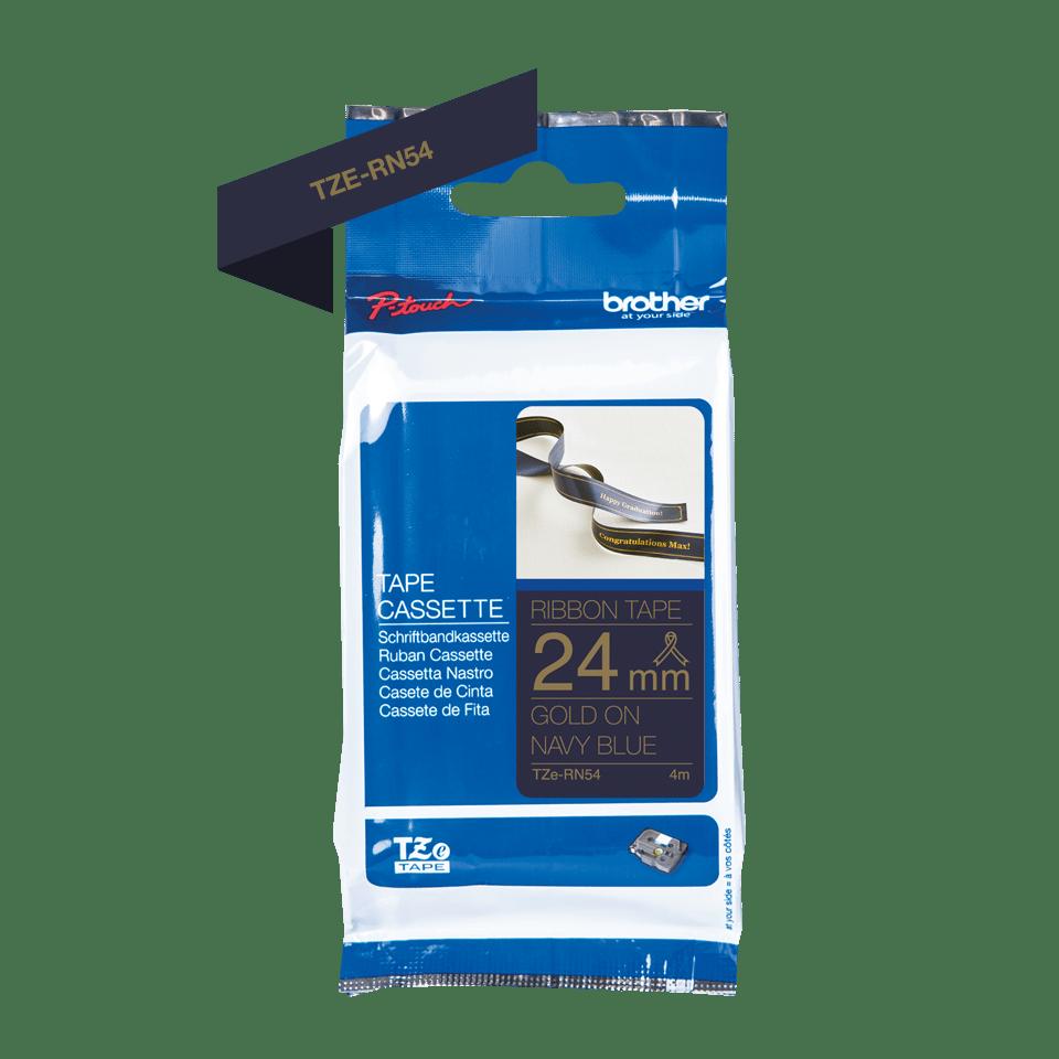 Oriģināla Brother TZe-RN54 auduma lentes kasete – zelta drukas tumši zila, 24mm plata 2