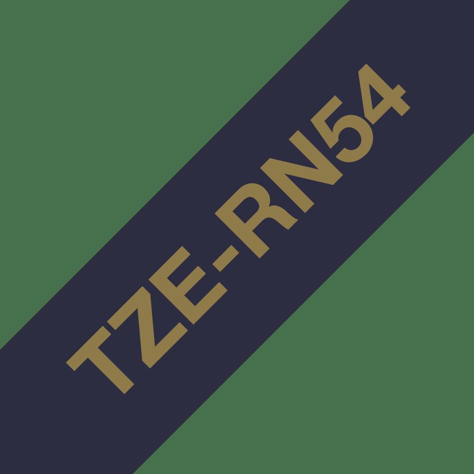 Oriģināla Brother TZe-RN54 auduma lentes kasete – zelta drukas tumši zila, 24mm plata 3