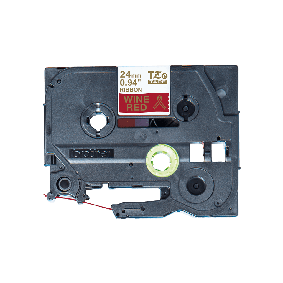 Oriģināla Brother TZe-RW54 auduma lentes kasete – zelta drukas sarkana, 24mm plata