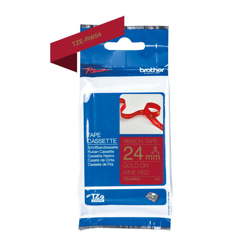 Oriģināla Brother TZe-RW54 auduma lentes kasete – zelta drukas sarkana, 24mm plata 2