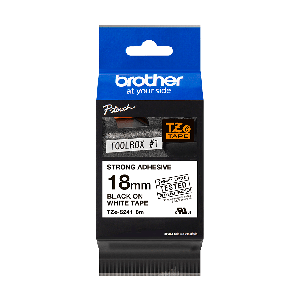 Genuine Brother TZe-S241 Labelling Tape Cassette – Black on White, 18mm wide 2
